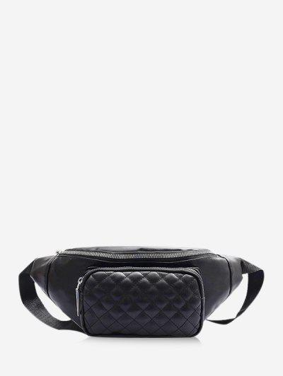 Quilted Leather Adjustable Chest Crossbody Bag - Black