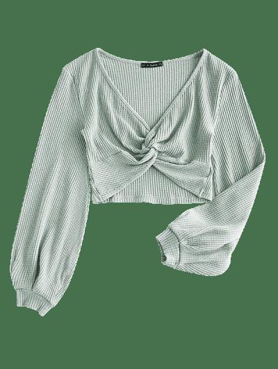 Voluminous Sleeve Twist-front Cropped Knitwear