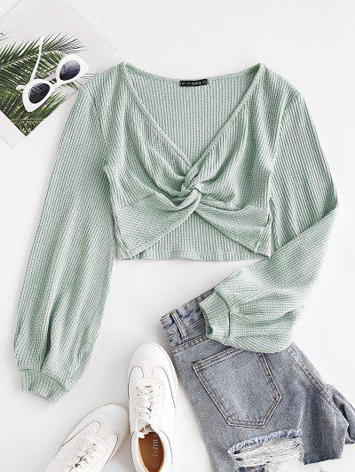 Voluminous Sleeve Twist-front Cropped Knitwear - Green S