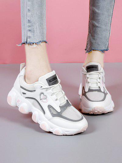 Heart Pattern Mesh Panel Sneakers - Light Pink Eu 37