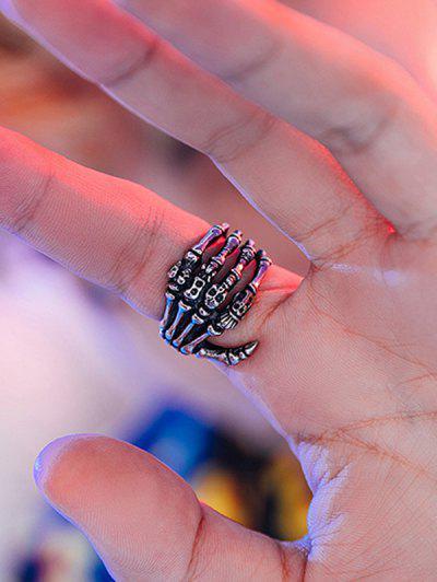 Skeleton Hand Bone Hollow Ring - Black Us 8