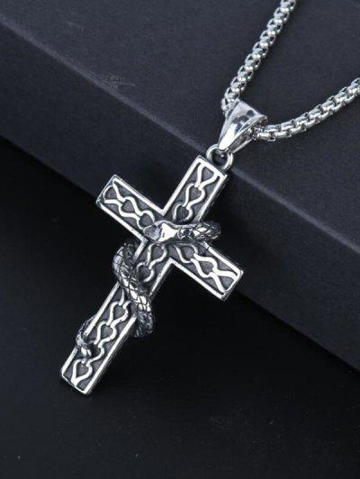 Snake Wrapped Cross Pendant Necklace - Gunmetal