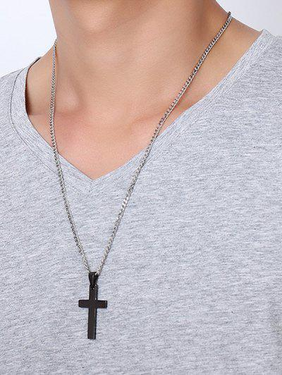 Cross Pendant Stainless Steel Necklace - Black