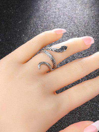 Carved Snake Wrap Silver Plated Ring - Gunmetal