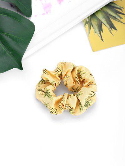 Pineapple Printed Elastic Fabric Scrunchy - Yellow