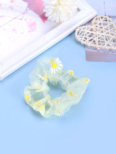Daisy Flower Chiffon Transparent Scrunchy - Light Yellow