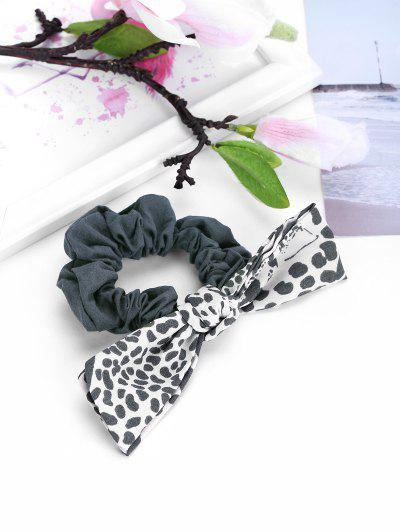 Bowknot Leopard Elastic Hair Tie - Gray