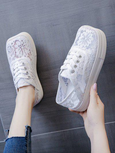Floral Lace Mesh Lace Up Shoes - White Eu 39