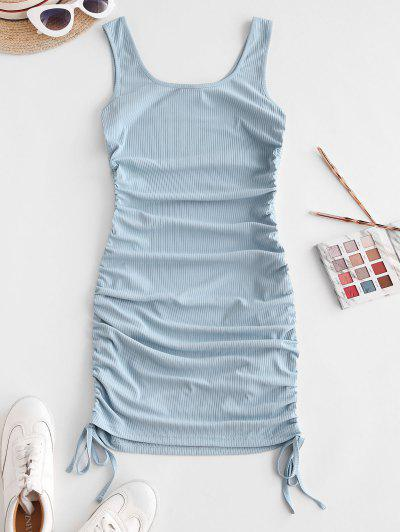 ZAFUL Ribbed Cinched Tank Dress - Light Blue M