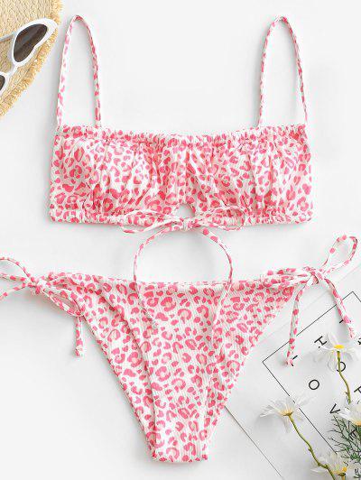 ZAFUL Bikini Acanalado De Cadena Con Estampado De Leopardo - Rosa Claro S