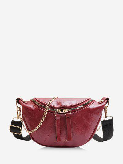 Chain Embellished Crinkle Leather Chest Bag - Deep Red