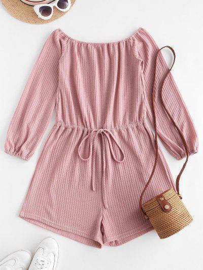 Off Shoulder Drawstring Waist Knit Romper - Light Pink L