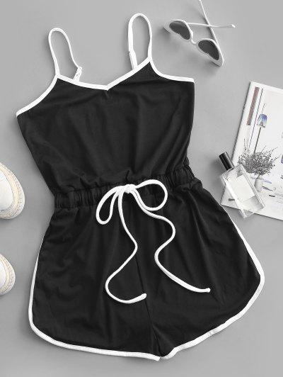Binding Drawstring Waist Cami Romper - Black Xl