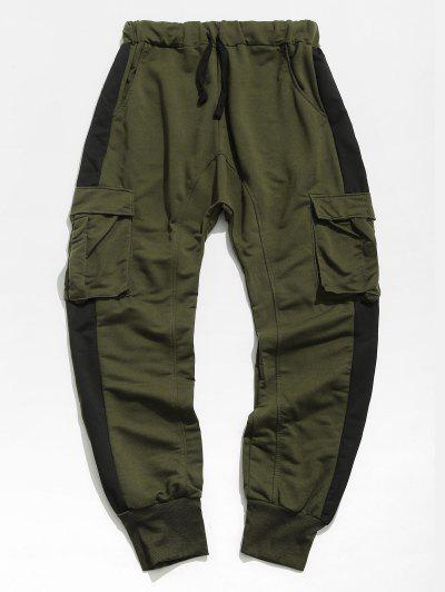 Colorblock Panel Flap Pocket Elastic Waist Jogger Pants - Army Green 3xl