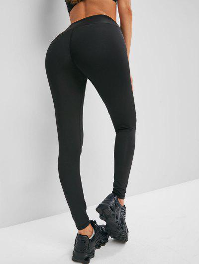 Solid Stitching High Waisted Sports Leggings - Black S