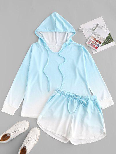 Drawstring Lounge Ombre Two Piece Set - Light Blue L