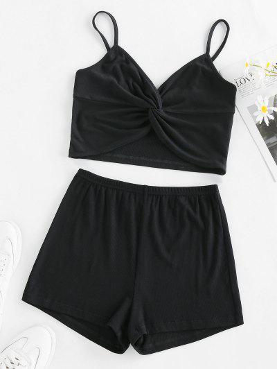 ZAFUL Ribbed Twisted Pajama Shorts Set - Black S