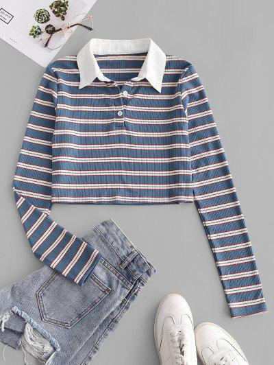 ZAFUL Ribbed Stripes Half Buttoned Cropped Tee - Blue L