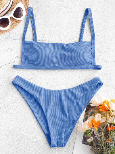 ZAFUL Ribbed Square Collar Bikini Swimwear - Blue S