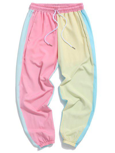 Color Blocking Panel Elastic Waist Pants - Multi-a S