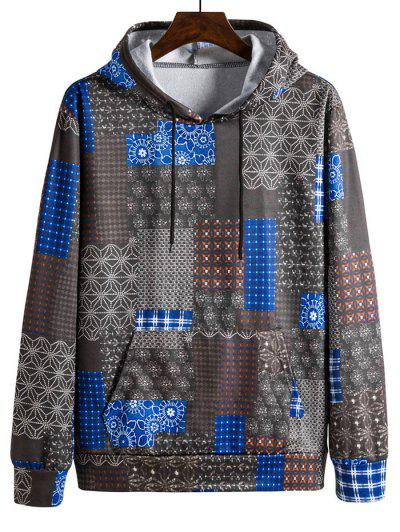 Tribal Patchwork Drawstring Flocking Hoodie - Multi-a 3xl