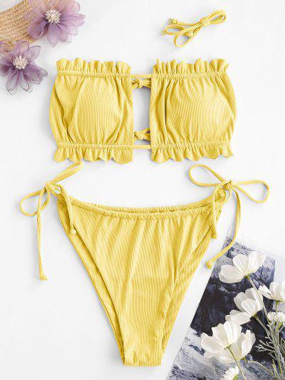 ZAFUL Frilled Ribbed Tie Bandeau Bikini Swimwear - Yellow S
