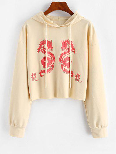 ZAFUL Graphic Dragon Print Oriental Hoodie - Apricot L