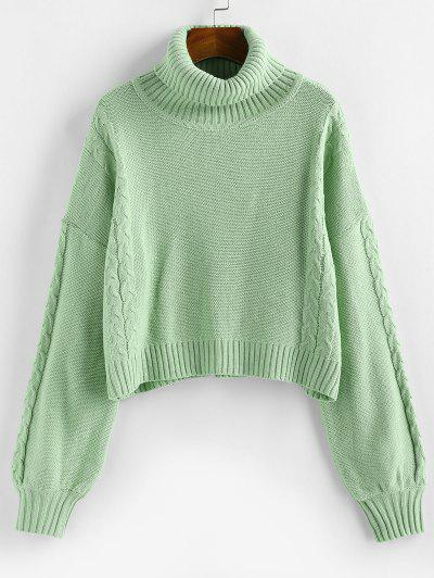 ZAFUL Turtleneck Cable Knit Sweater - Light Green Xl