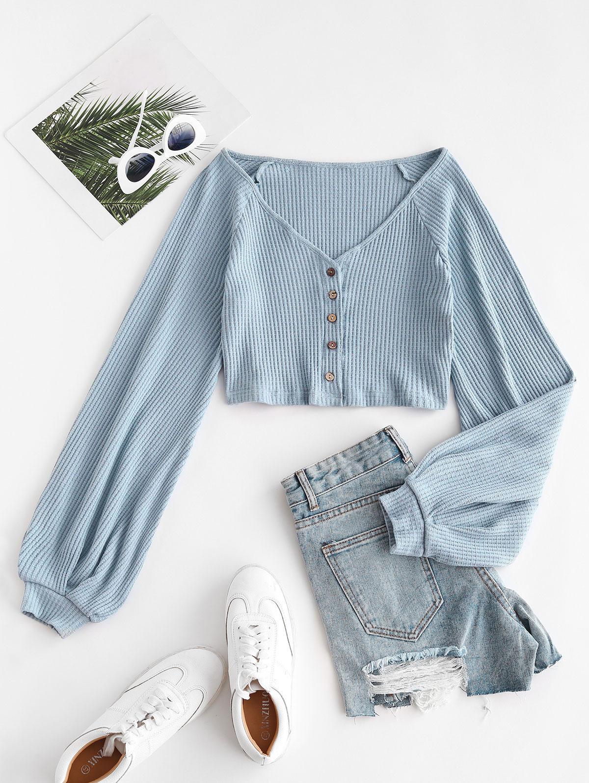 Knit Voluminous Sleeve Cropped Cardigan