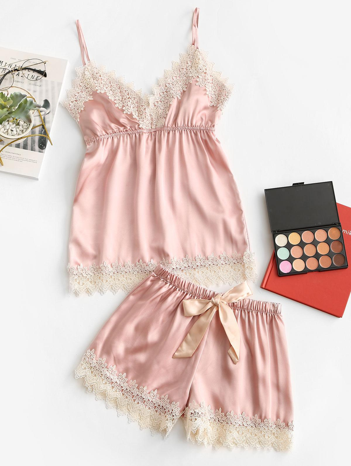 Tie Waist Lace Panel Satin Pajama Set