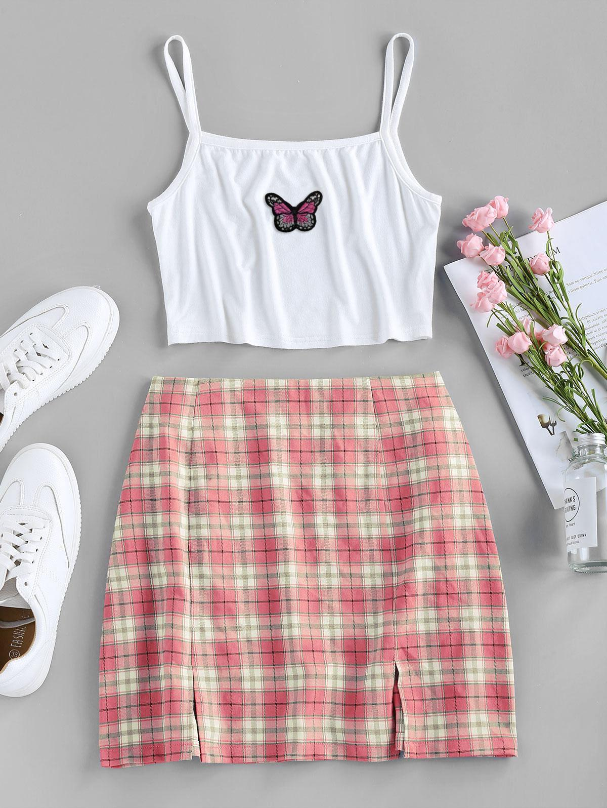 ZAFUL Butterfly Embroidered Crop Camisole and Plaid Slit Skirt Set