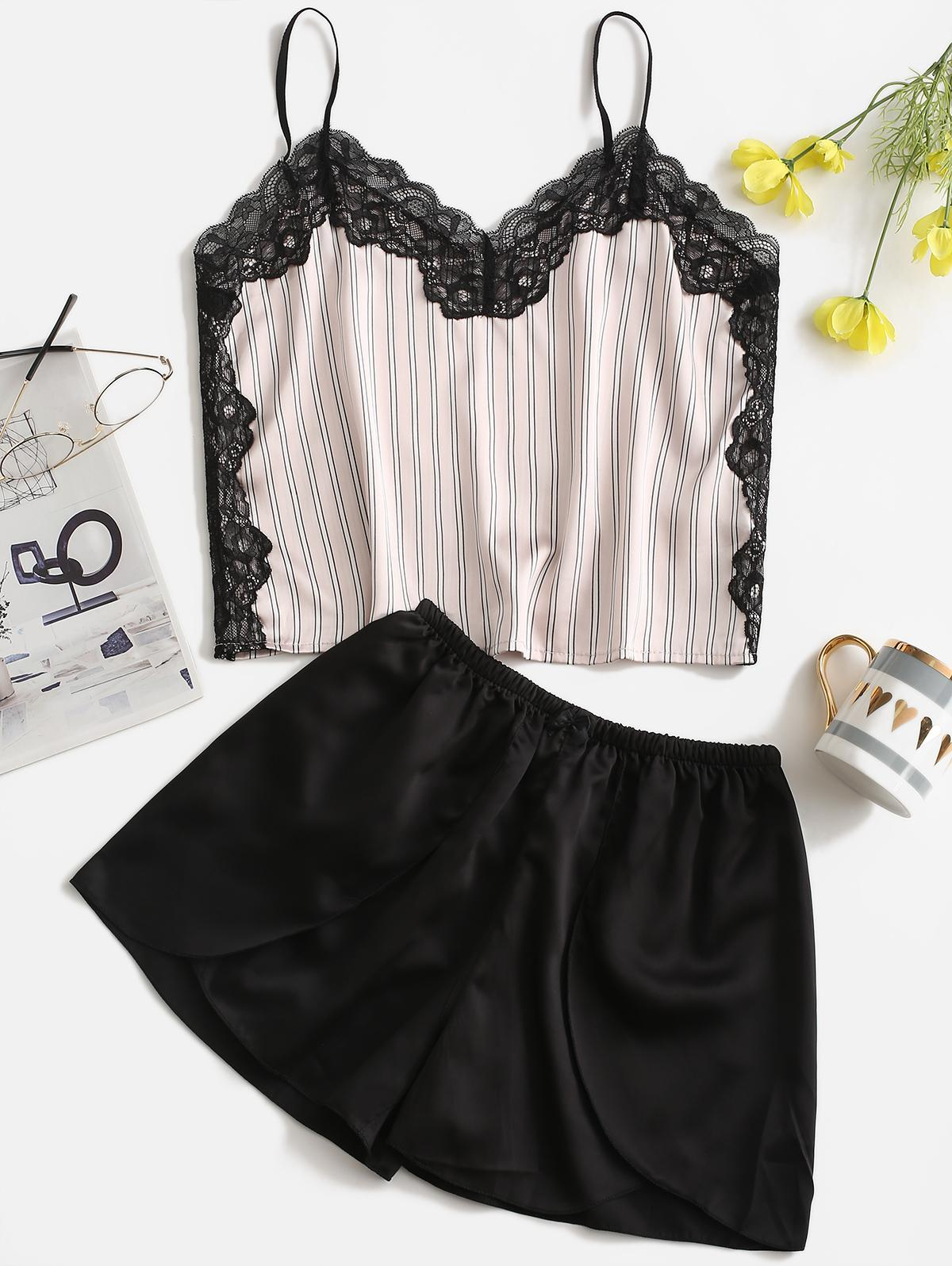 Striped Lace Insert Satin Pajama Shorts Set