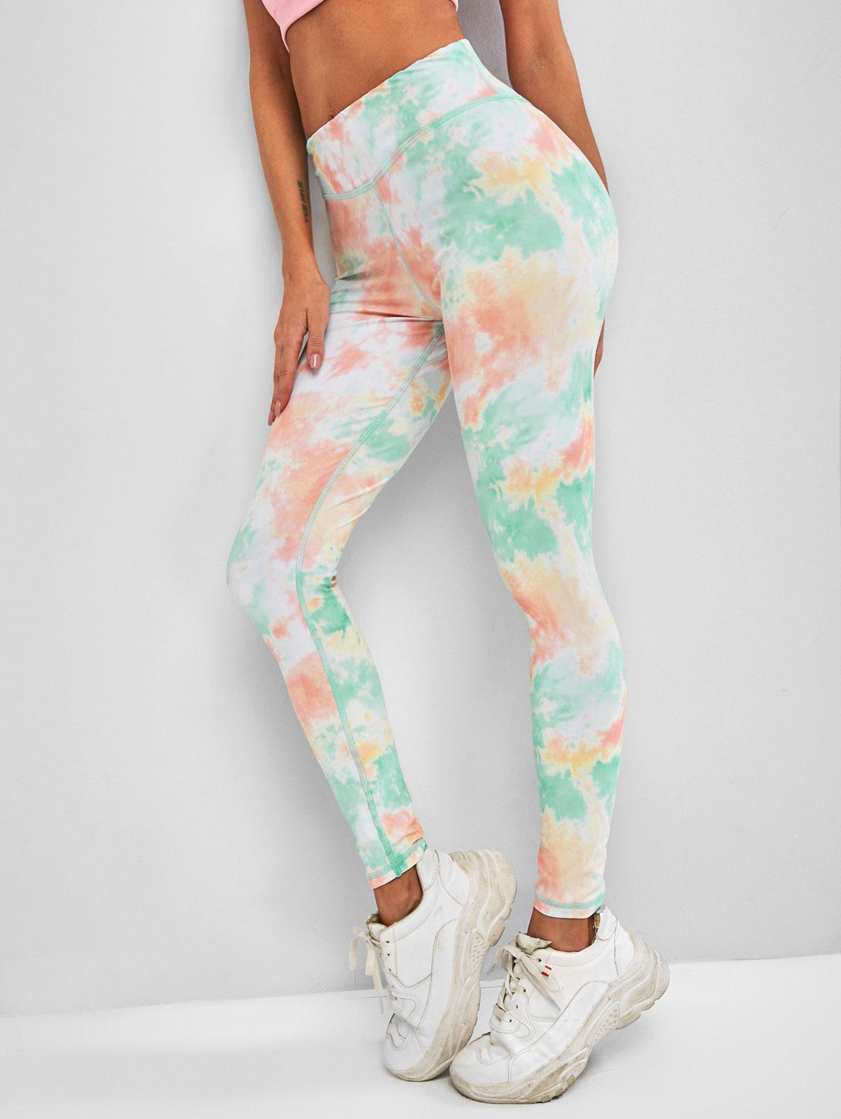 Tie Dye Topstitching High Rise Leggings