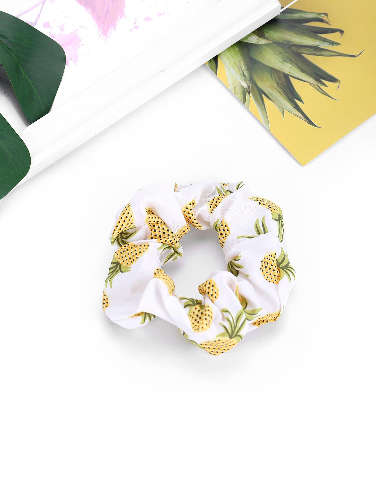 Pineapple Printed Elastic Fabric Scrunchy