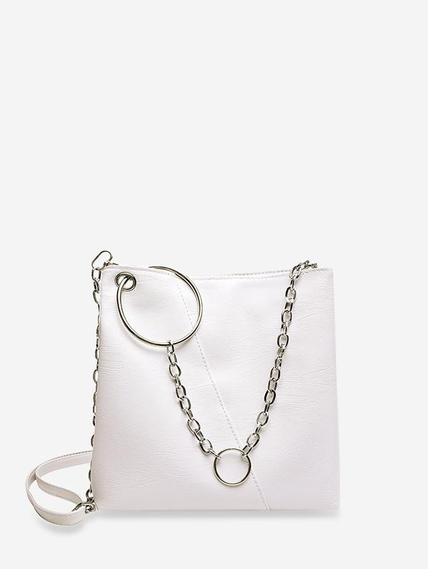 O-ring Chain Leather Crossbody Bag