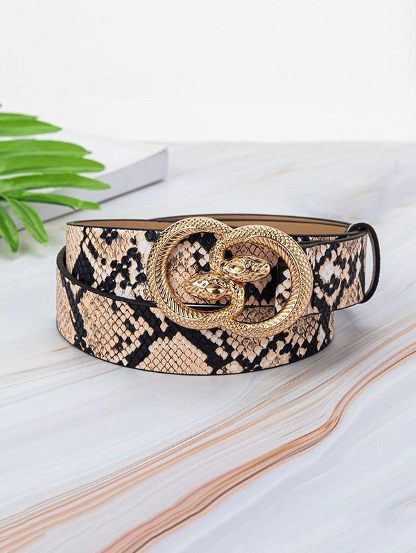 Animal Embossed Leather Snake Buckle Belt