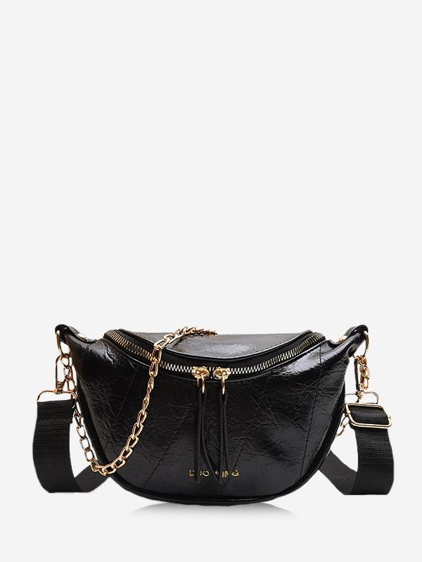 Chain Embellished Crinkle Leather Chest Bag