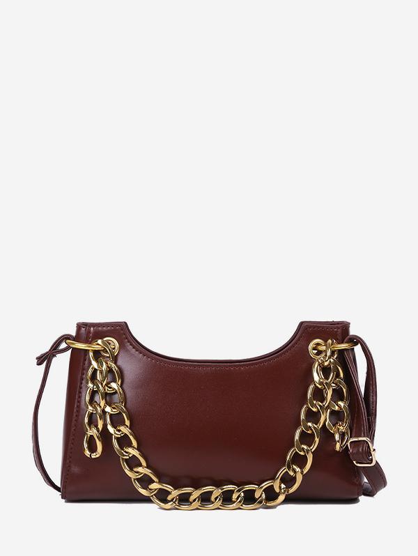 Chain Embellished Leather Sling Bag