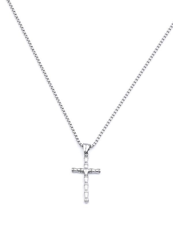 Retro Cross Bamboo Chain Necklace