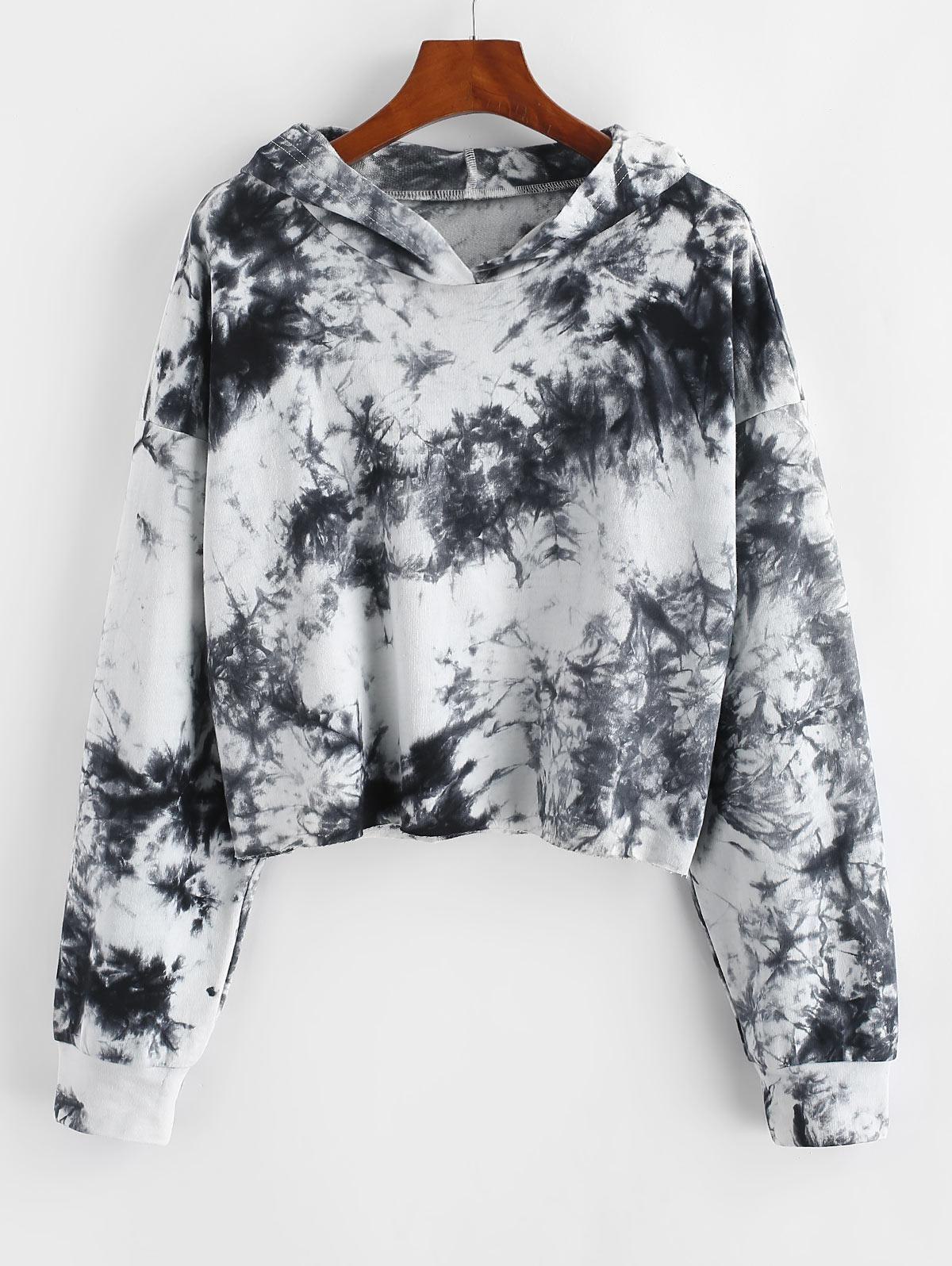 ZAFUL Tie Dye Drop Shoulder Raw Hem Hoodie