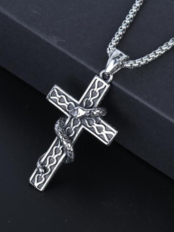 Snake Wrapped Cross Pendant Necklace
