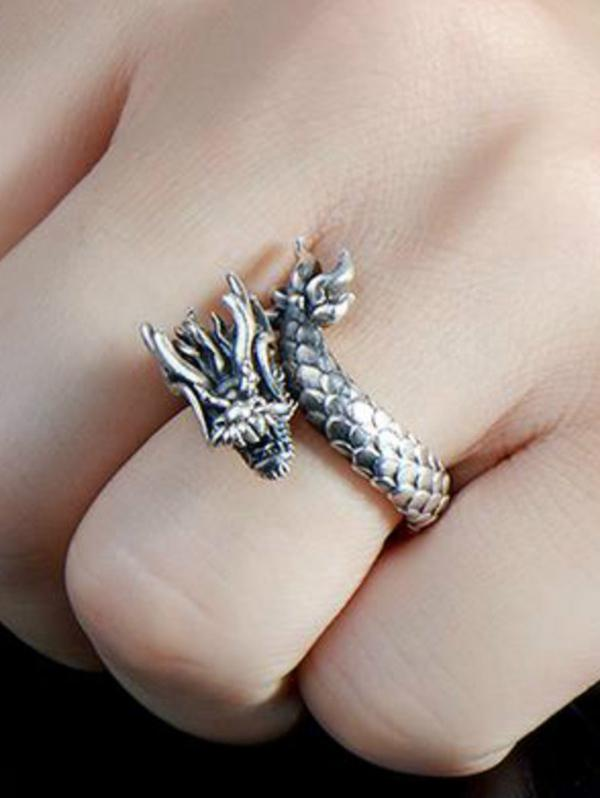 Carved Dragon Shape Open Ring