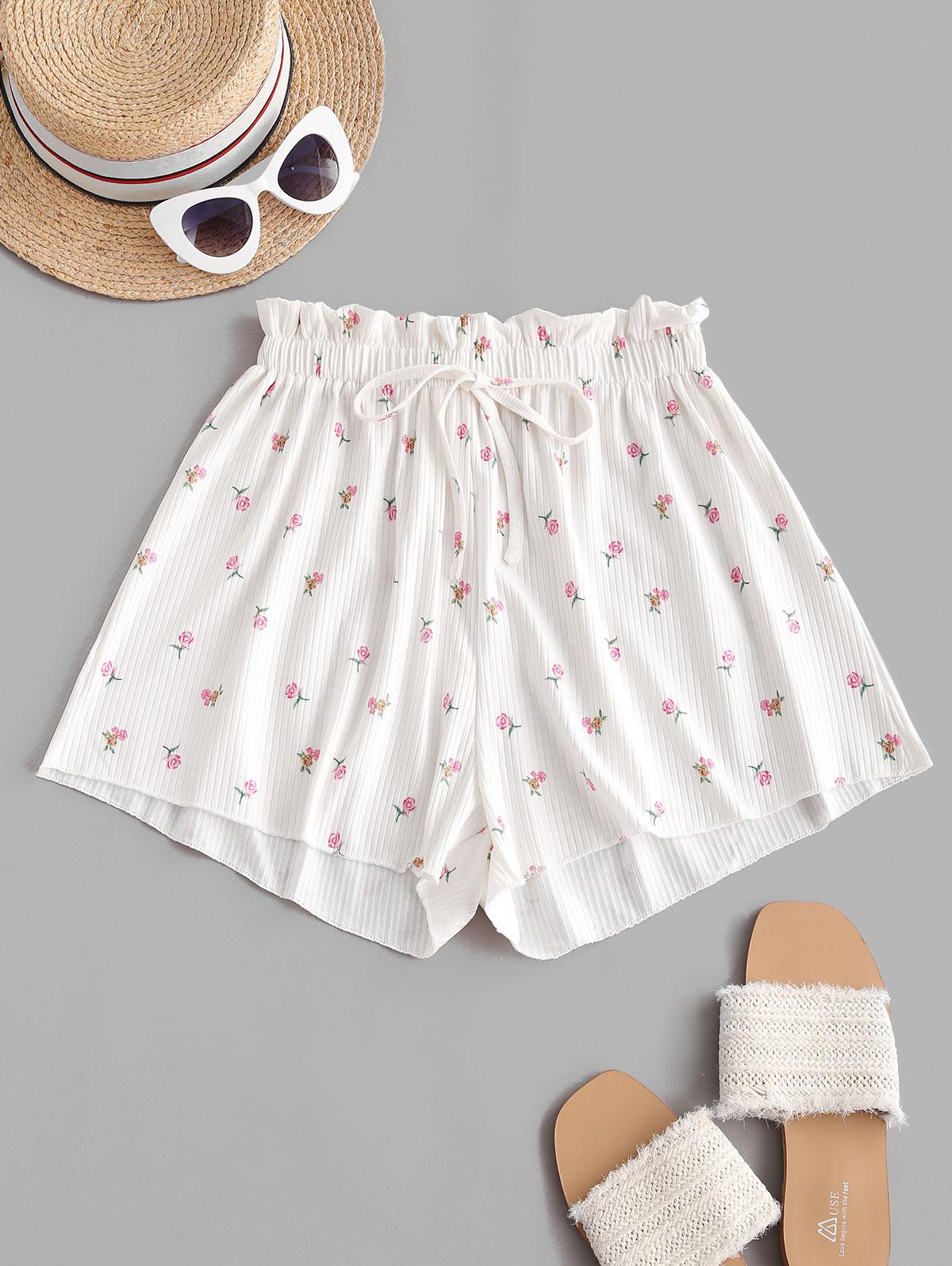 Floral Ribbed Frilled Tie Casual Shorts