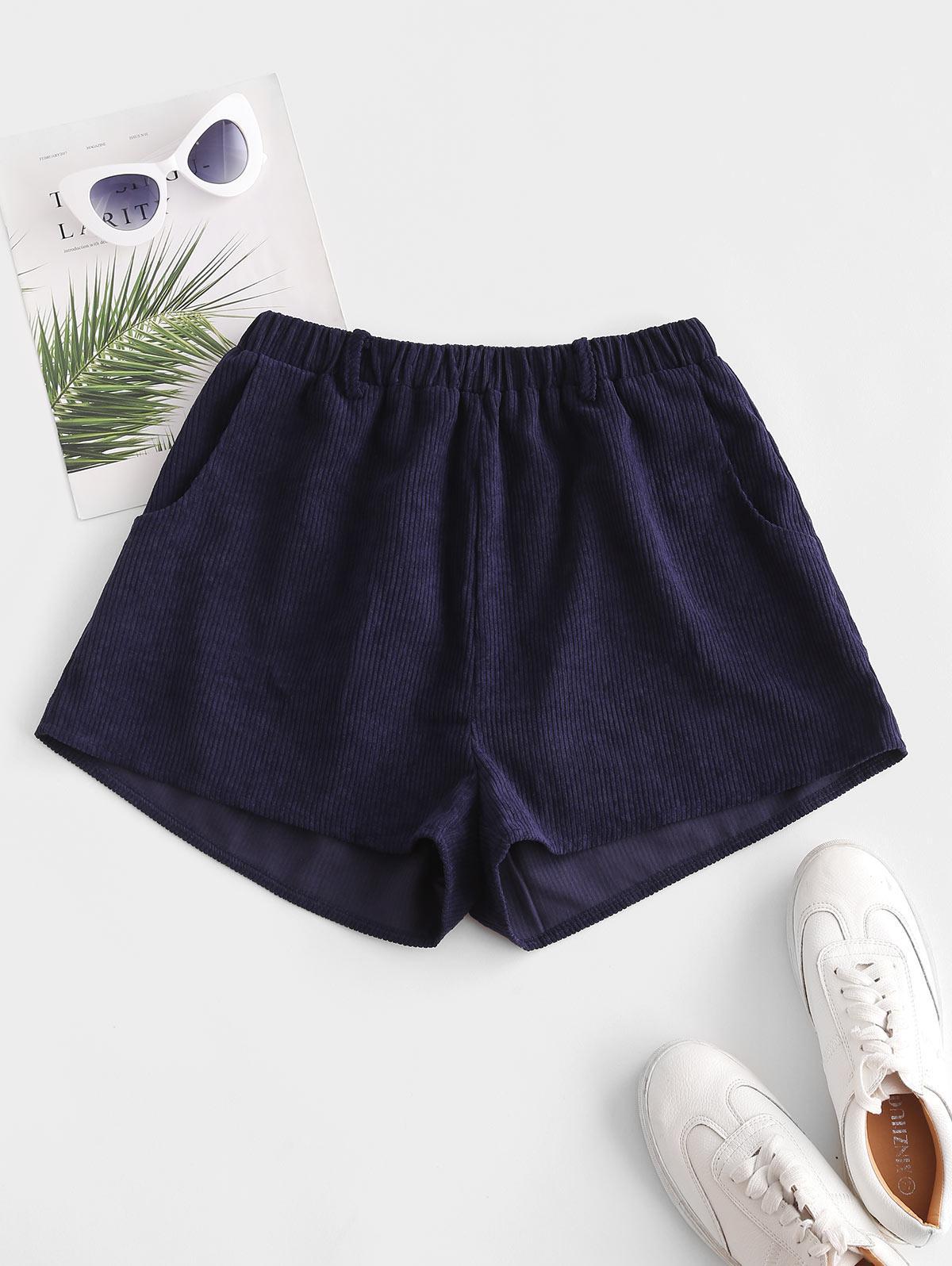 ZAFUL Corduroy Pocket Wide Leg Shorts