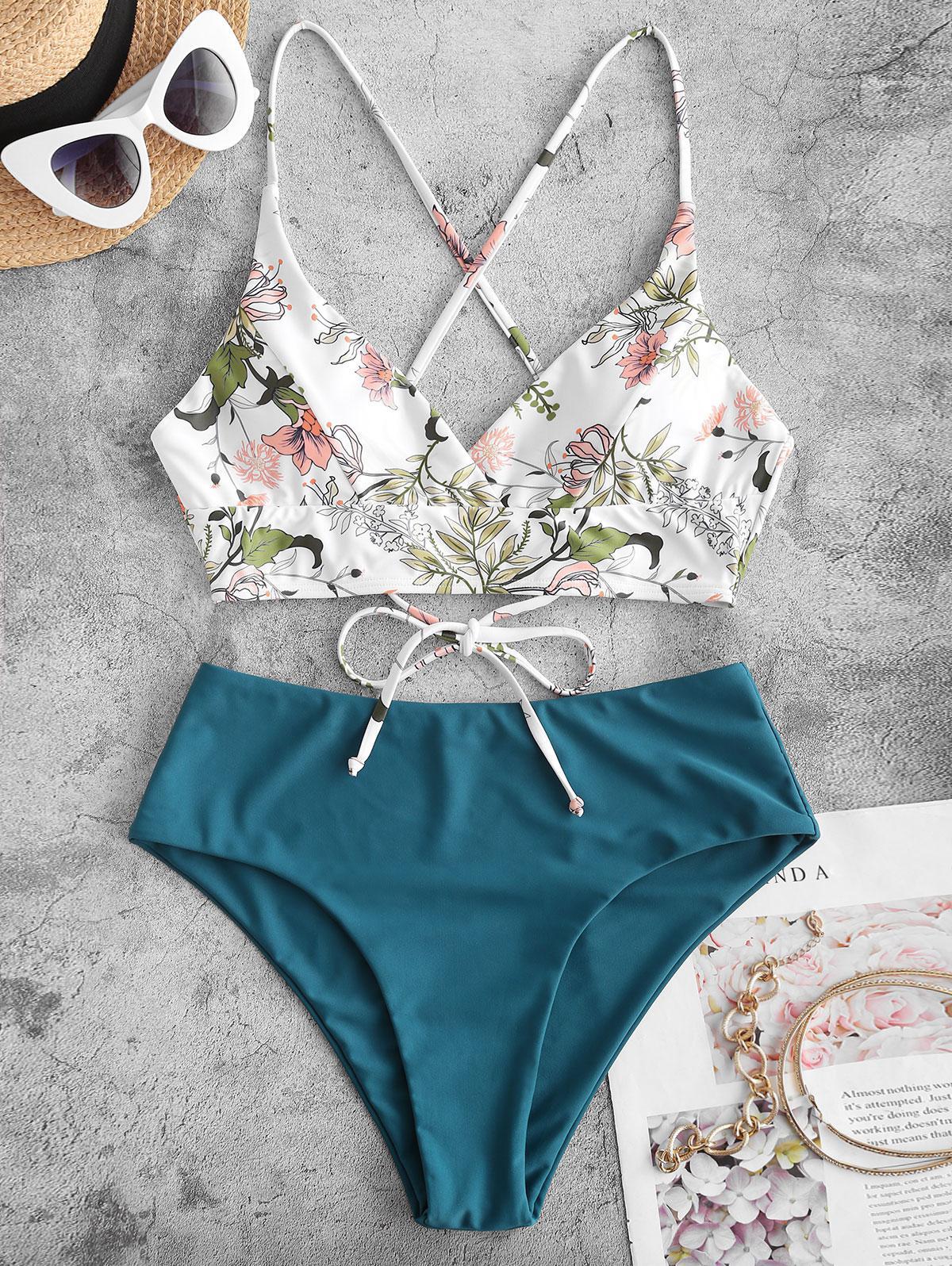 ZAFUL Plant Print Crisscross Surplice Tankini Swimwear