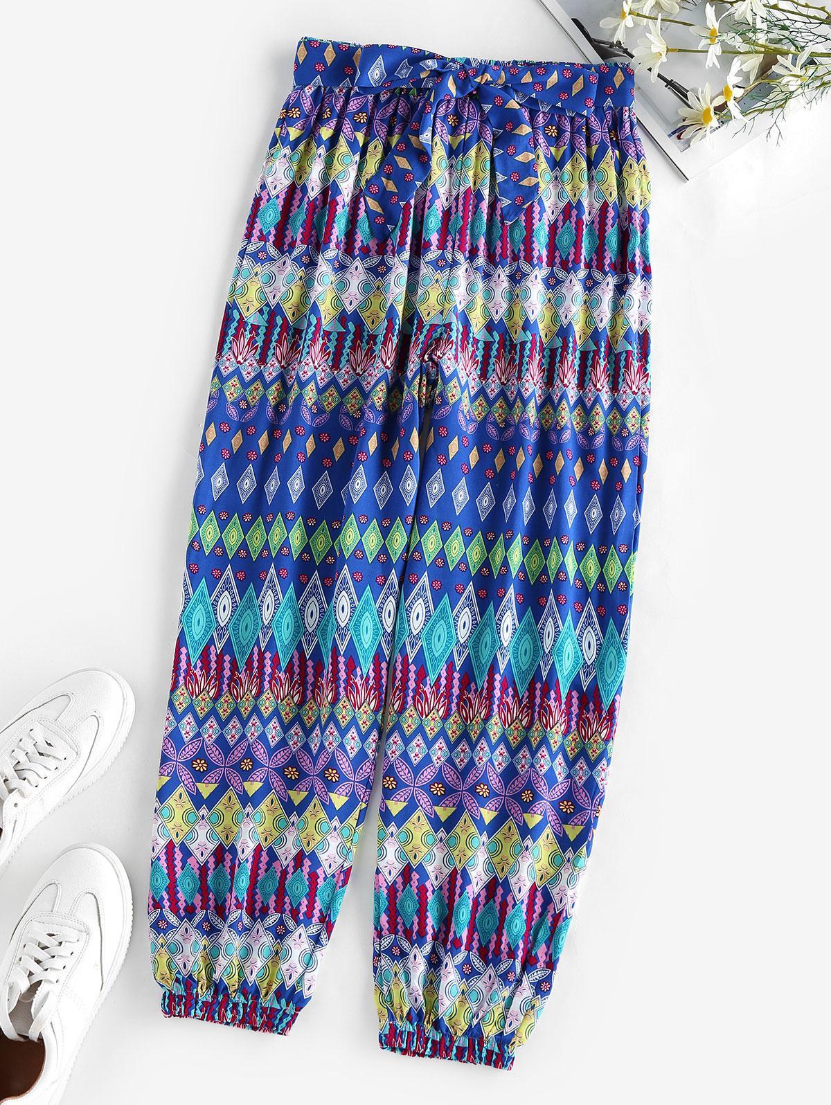 ZAFUL Belted Ethnic Geo Print Elastic Cuff Pants