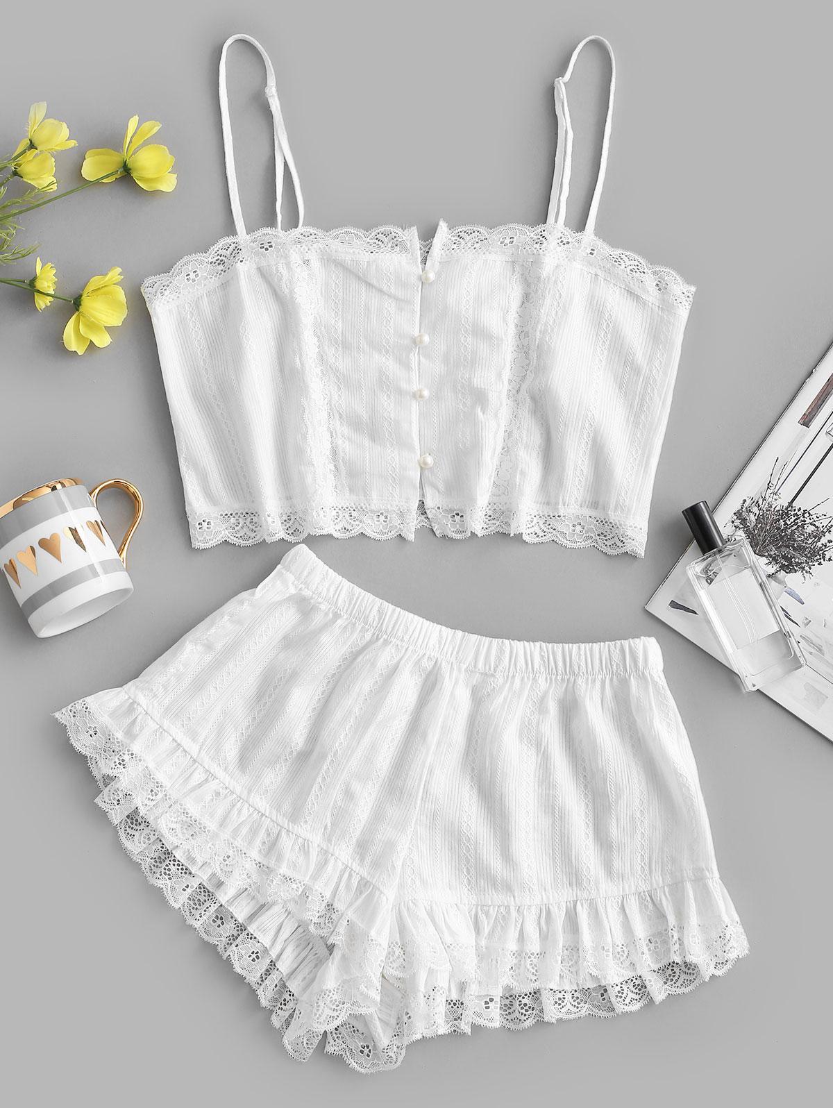 Lace Insert Ruffle Button Up Pajama Shorts Set