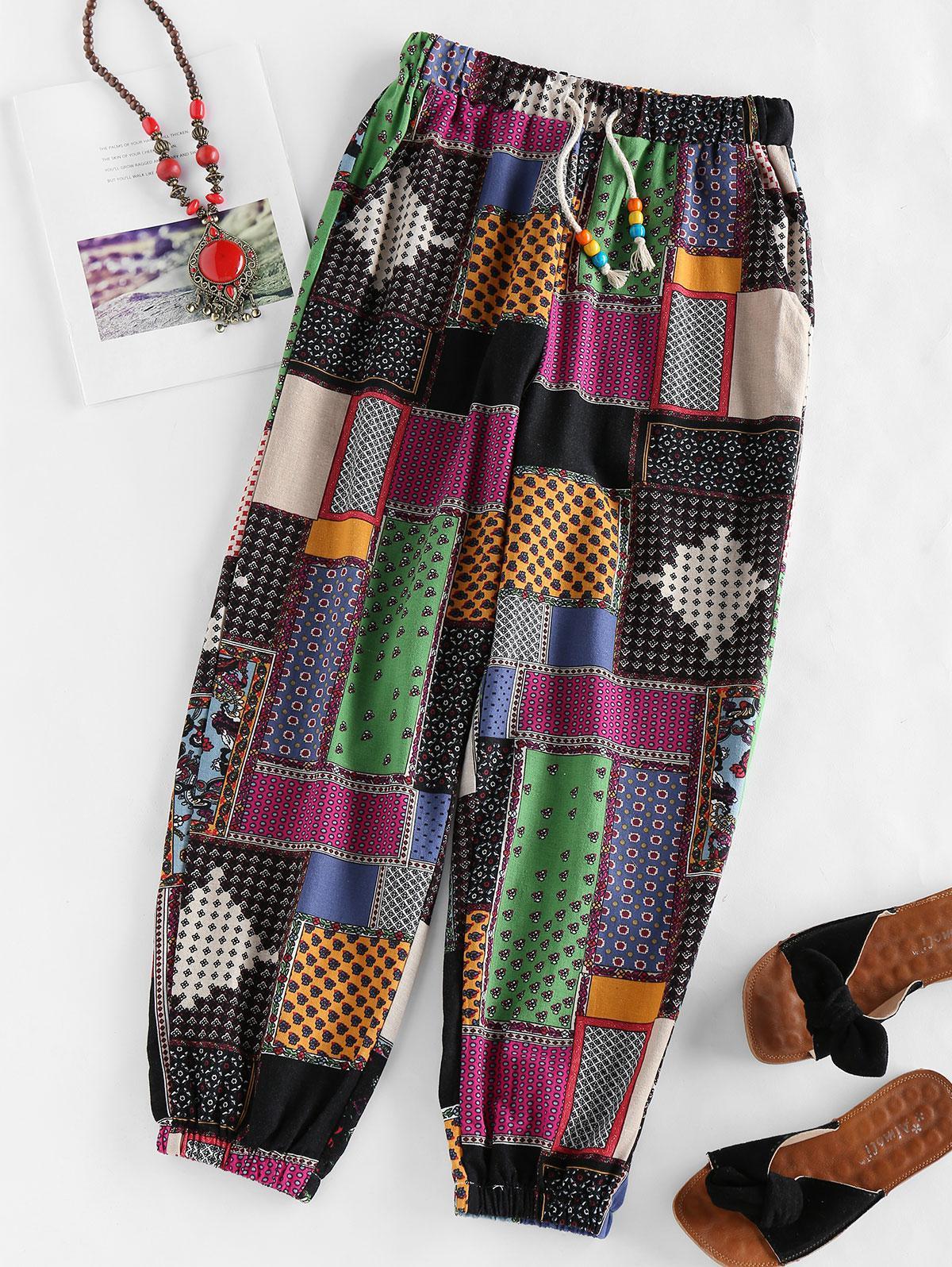 ZAFUL Ethinc Floral Drawstring Pocket Jogger Pants