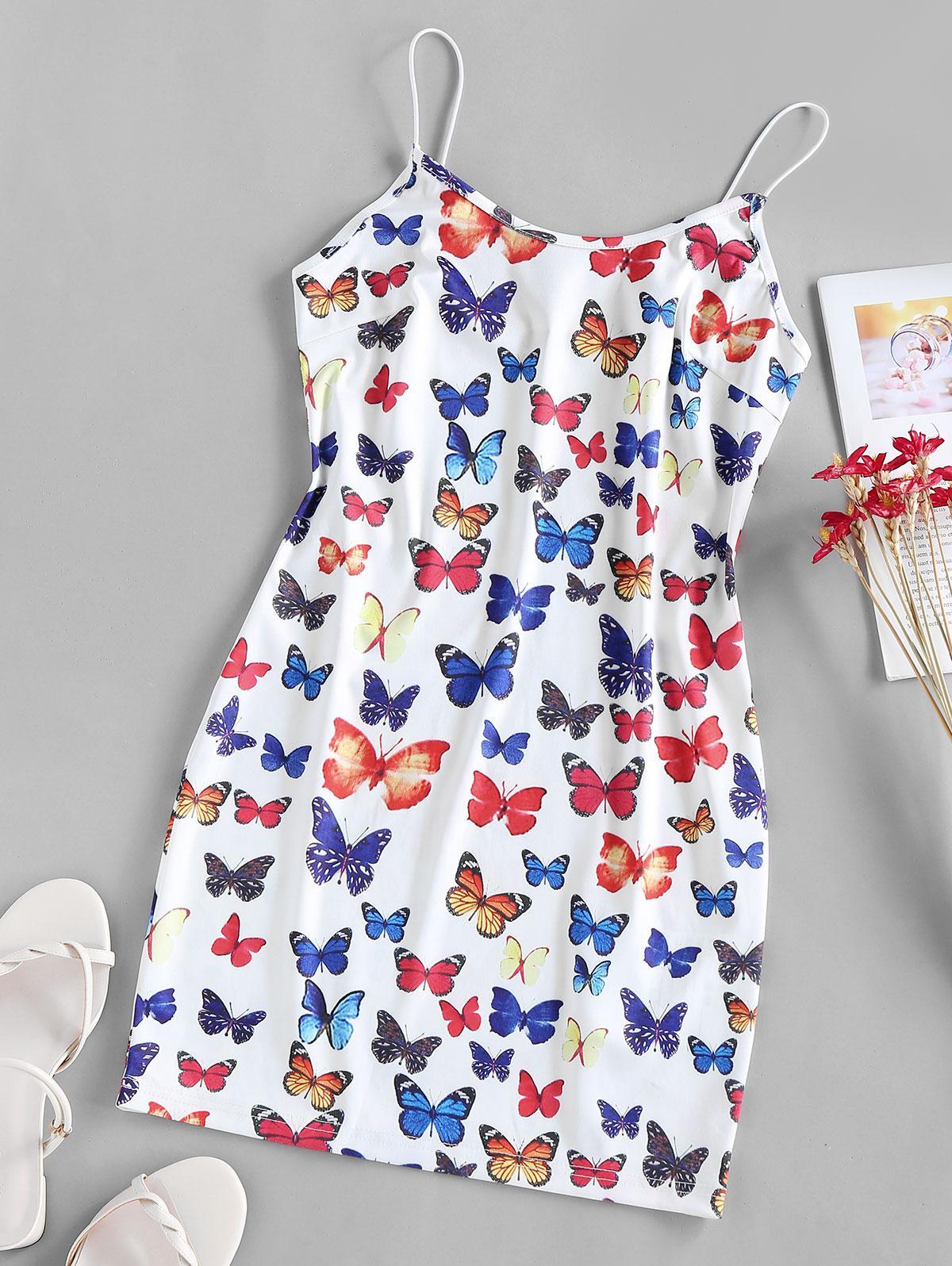 ZAFUL Cami Butterfly Print Backless Bodycon Dress