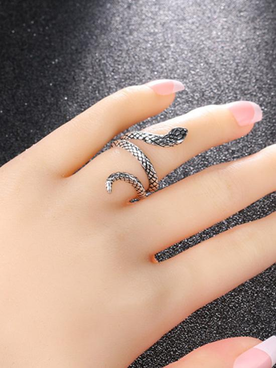 Carved Snake Wrap Silver Plated Ring